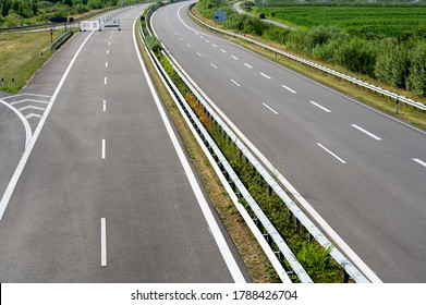 Newly built section of the highway A26 (Autobahn 26) between Stade and Hamburg, Germany.