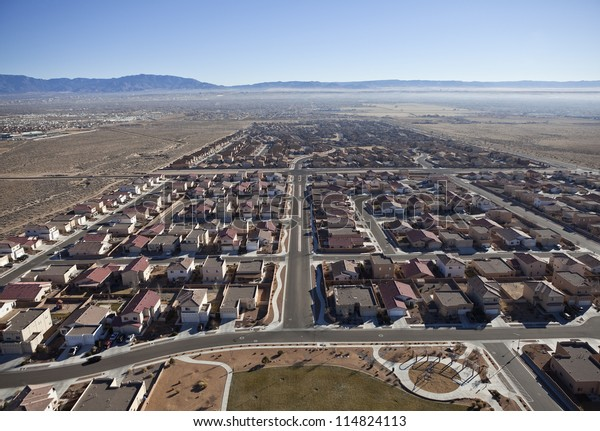 Newly built suburban neighborhood in the western USA.