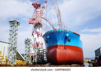 Newly built vessel during launching of the shipyard in Japan