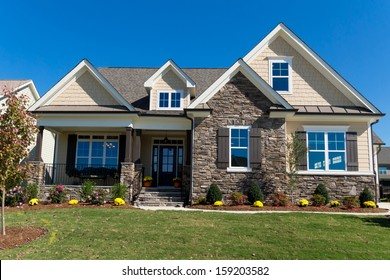 Newly completed large suburban house
