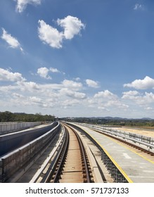 Newly constructed elevated railway against beautiful sky