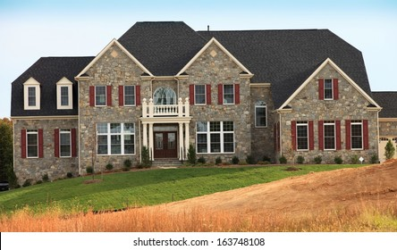 Newly constructed million dollar model home in new suburban development in Northern Virginia.