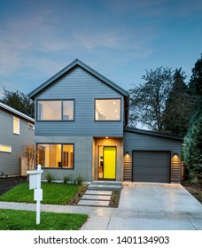 Newly constructed modern house during twlight