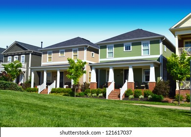 Newly Constructed Neighborhood of Cape Cod Suburban American Homes