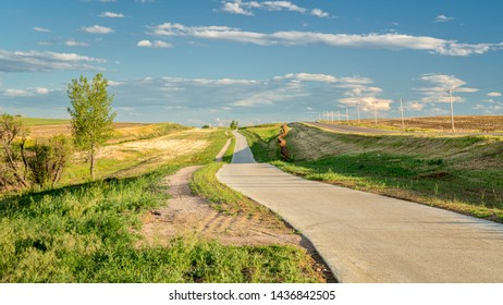 Newly constructed regional trail - Longview Trail connecting Loveland and Fort Collins along northern Colorado foothills, early summer scenery