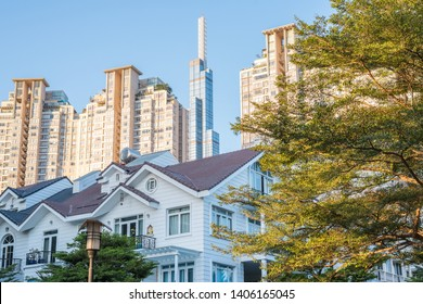 Newly constructed residential blocks of Binh Thanh district, Ho Chi Minh City, with skyscraper Landmark 81 in back. Real estate & property development, construction are profitable business in Vietnam.