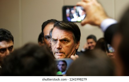 Newly elected brazilian president Jair Bolsonaro during a meeting with businessmen in Rio de Janeiro, Brazil on August 06, 2018