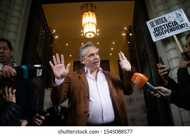 Newly elected president centre-left Peronist Alberto Fernandez speaks with the press at the Otamendi clinic in Buenos Aires, Argentina on June 6, 2019.