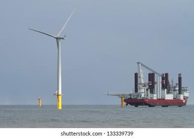 newly erected wind turbines off shore Redcar england UK