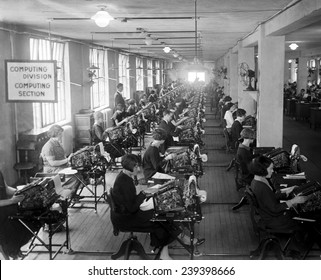"In newly established Bonus Bureau's Computing Division, over forty employees use ""state of the art"" calculating machines."