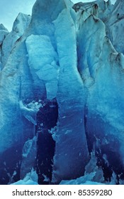Newly exposed glacial ice of the Mendenhall Glacier in Alaska