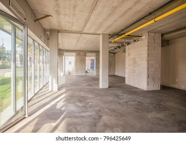 Newly finished industrial building interior