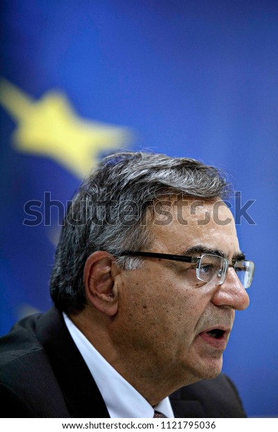 Newly Greek Finance Minister Nikos Christodoulakis during a handover ceremony at the ministry in Athens, August 28, 2015.