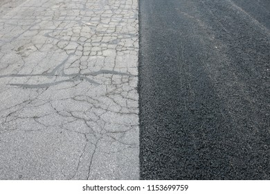 Newly Half Paved Road showing old and new