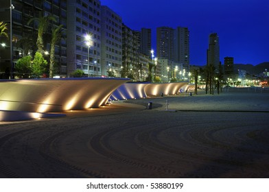 Newly improved beach front Paseo Maritimo, Playa Poniente, Benidorm at night.