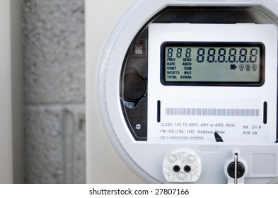 A newly installed digital power meter.