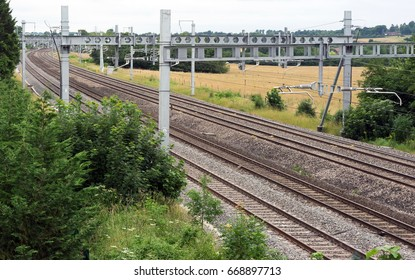 The newly installed wires as part of the large scale upgrade and modernisation of the Great Western mainline. Seen here just outside Pangbourne in Berkshire.