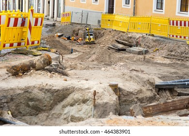 newly laid supply lines at a construction site
