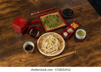 Newly made raw soba (Japanese Noodle foods)