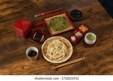 Newly made raw soba (Japanese Noodle foods)