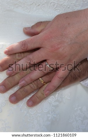 057f2a5329 Newly Marriage Couple Hands Wedding Rings Stock Photo (Edit Now ...