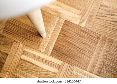 Newly oiled parquet floor