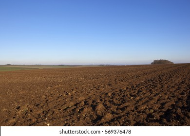newly plowed soil in a hilltop field with a woodland copse and a view of the vale of york in a yorkshire wolds landscape under a blue sky in winter
