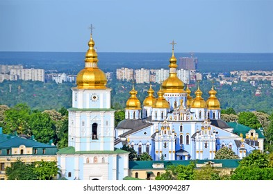 newly rebuilt St. Michael's Golden-Domed Monastery in Kiev, Ukraine. Original building is the monastery's main church built in 1108-1113.