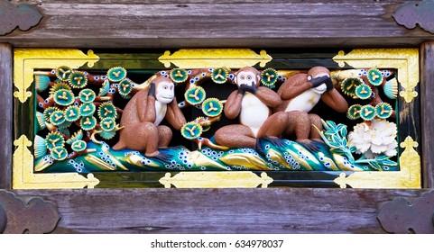 Newly renovated famous three wise monkeys at Toshogu Shrine, Nikko, Japan