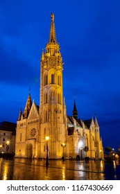 Newly renovated Mathias Church in Budapest is a big attraction for tourists all over the world. Budapest's beauty shown at night through many centuries of architecture, Hungary.