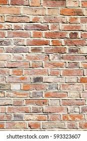 Newly repointed lime mortar brick wall closeup