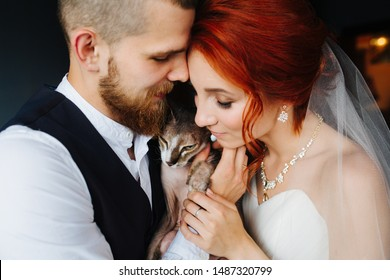 Newly wed couple standing closely together, touching with foreheads, leaning. Their cat is in centre in the middle of them cuddling to. They all are happy and relieved about their marriage.