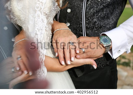 a4ab969516 Newly Wed Couples Hands Wedding Rings Stock Photo (Edit Now ...