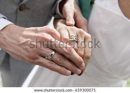 18d86af083 Newly Wedding Couple Hands Wedding Rings Stock Photo (Edit Now ...