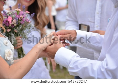 cba23d4bfb Newly Wedding Couples Hands Wedding Rings Stock Photo (Edit Now ...