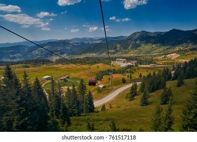 Newly-built modern Goderdzi Cable Car and Rural mountain landscapes of Georgian Adjara region near village of Khulo