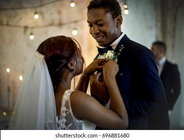 Newlywed African Descent Couple Together Wedding Celebration