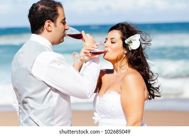newlywed couple drinking champagne on beach