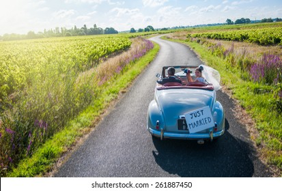 A newlywed couple is driving a convertible retro car, the bride is looking at camera with her bouquet.
