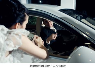 Newlyweds and a car