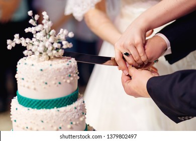 newlyweds cut a wedding cake. Hold knife together and cut the cake together. close up