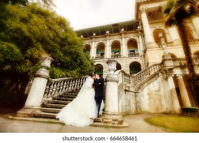 Newlyweds on the stairs of the mansion