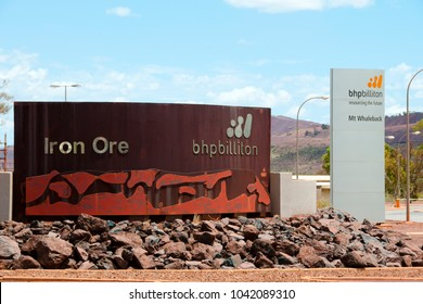 NEWMAN, AUSTRALIA - February 28, 2018: BHP Billiton is the second largest iron ore mining company in the Pilbara & owns the majority of the Mt Whaleback operations