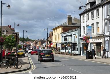 NEWMARKET, SUFFOLK/UK - July 28, 2017. High Street, Newmarket, Suffolk, England