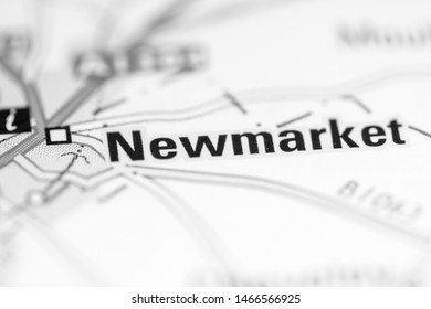 Newmarket. United Kingdom on a geography map