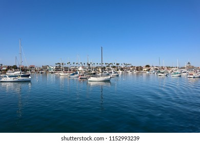 Newport Beach, CA / August 8, 2018: Boats in the Newport Be a Harbor on a summer day