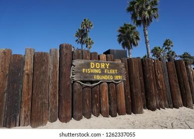 Newport Beach, CA - September 29th 2015: Dory Fishing Fleet market sign