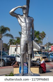 Newport Beach, CA / USA - 09/06/2018:  The Ben Carlson Memorial Statue
