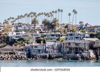 Newport Beach, CA / USA - January 26, 2019: coastal homes in Newport Beach California