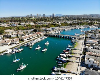 Newport Beach, CA / USA - March 15 2019: Balboa Island and Newport Harbor